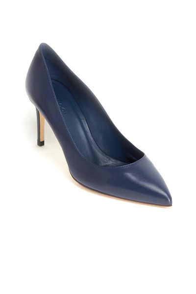 Gucci - Brooke Blue Leather Pumps, 75mm