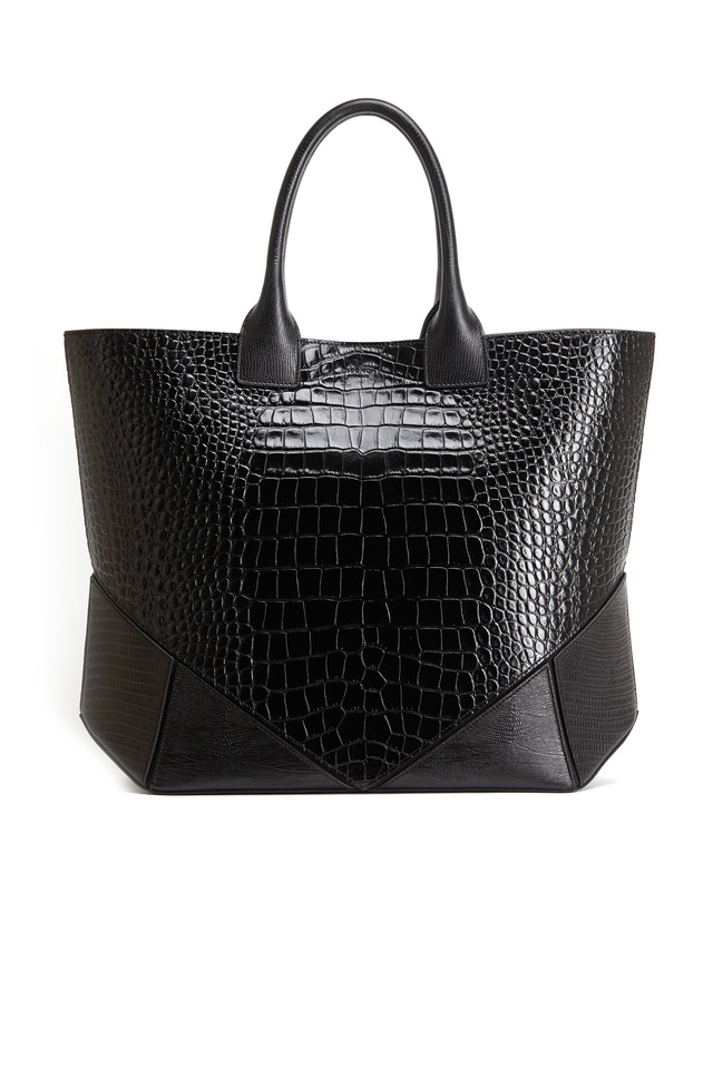 Easy Black Crocodile Stamped Leather Tote
