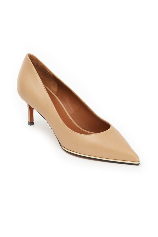 Classic Beige Leather Pointed Pumps