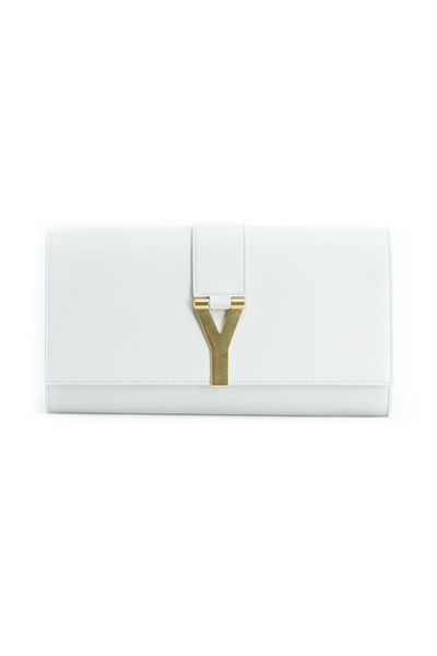 Saint Laurent - Ligne Y Chalk Leather Flap Clutch