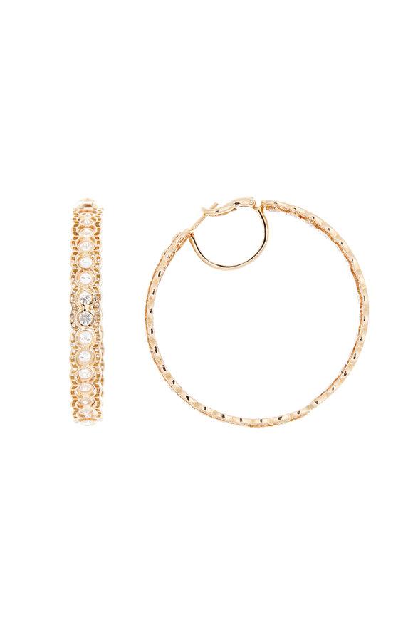 Louis Newman 18K Yellow Gold Diamond Hoops