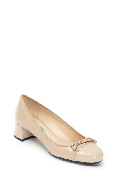 Prada - Nude Patent Leather Bow Pump, 35mm