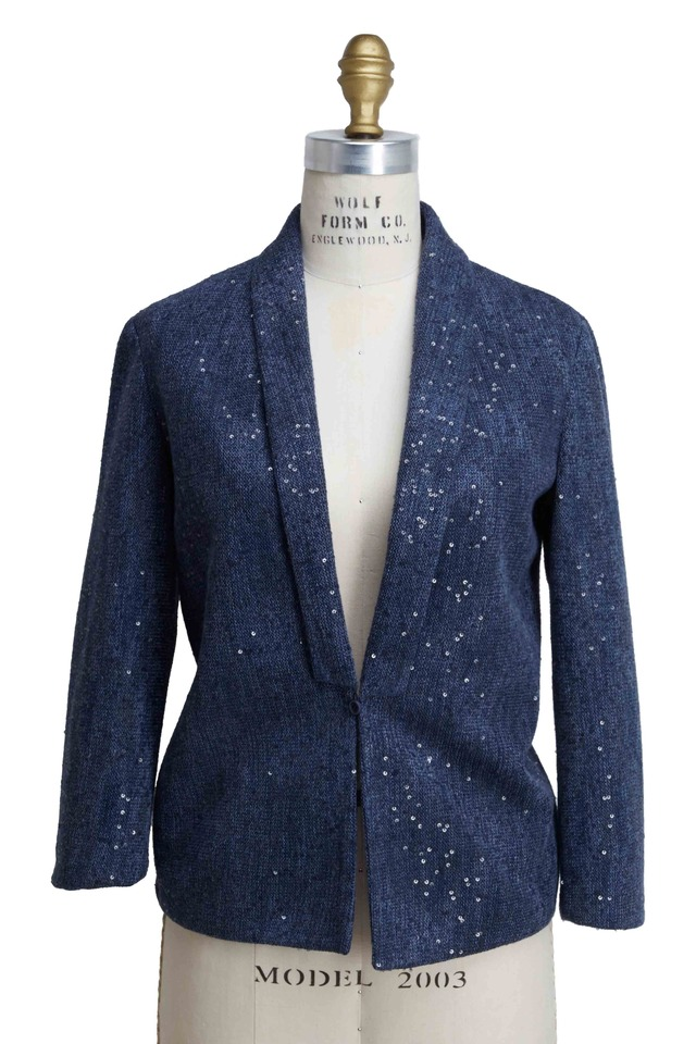 Marine Linen & Silk Pailette Blazer