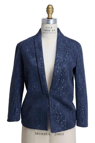 Brunello Cucinelli - Marine Linen & Silk Pailette Blazer