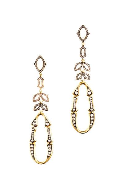 Sylva & Cie - 18K Yellow Gold Diamond Bride Drop Earrings