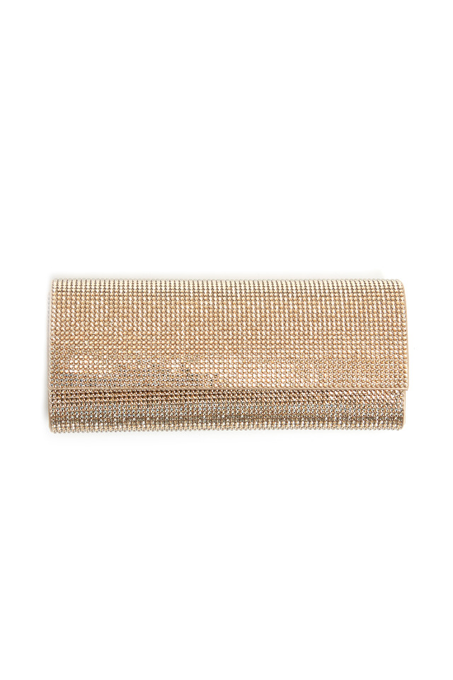 Champagne East West Flap Clutch