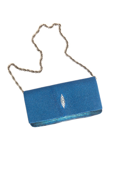 Daniella Ortiz - Kate Metallic Blue Stingray Clutch