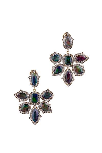 Sylva & Cie - 18K Yellow Gold Opal Cluster Drop Earrings
