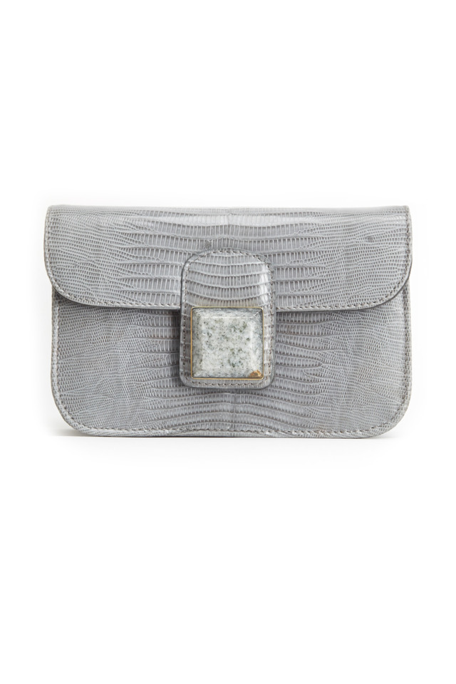 Bailey Grey Lizard Stone Flap Handbag