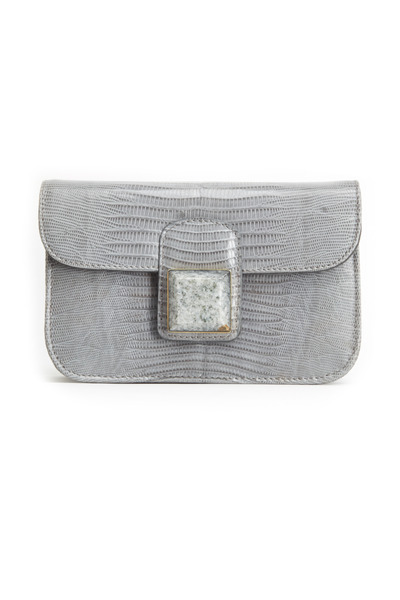 Daniella Ortiz - Bailey Grey Lizard Stone Flap Handbag