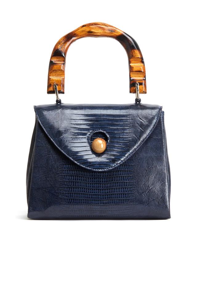 Navy Blue Lizard Skin Handbag