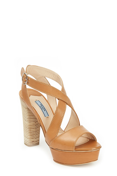 Prada - Natural Leather Crisscross Platform Sandal, 110mm
