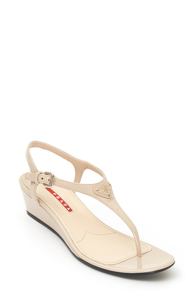 Prada - Nude Patent Leather Thong Wedge Sandal, 40mm