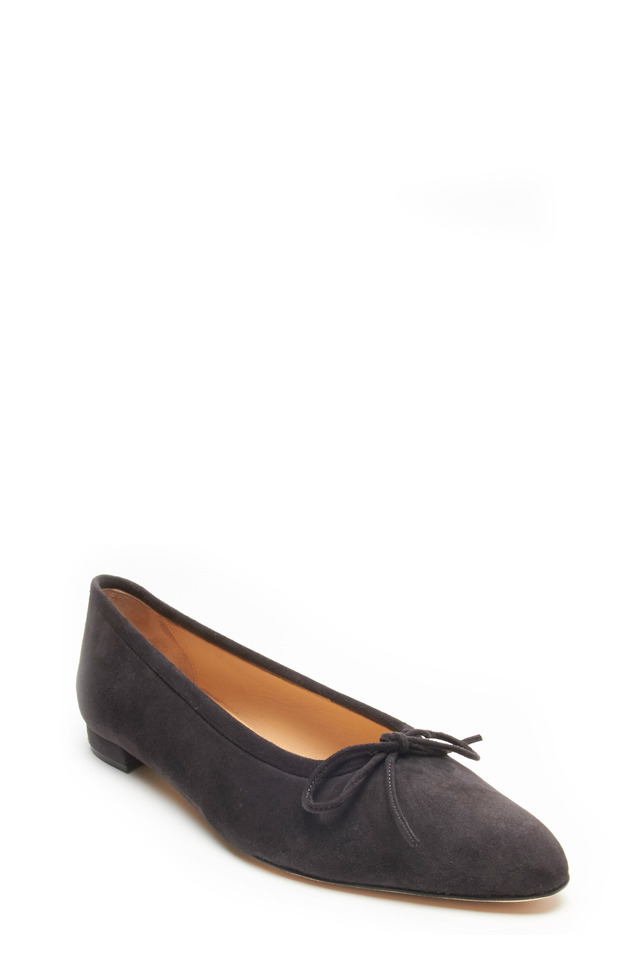 Gray Suede Bow Ballet Flat