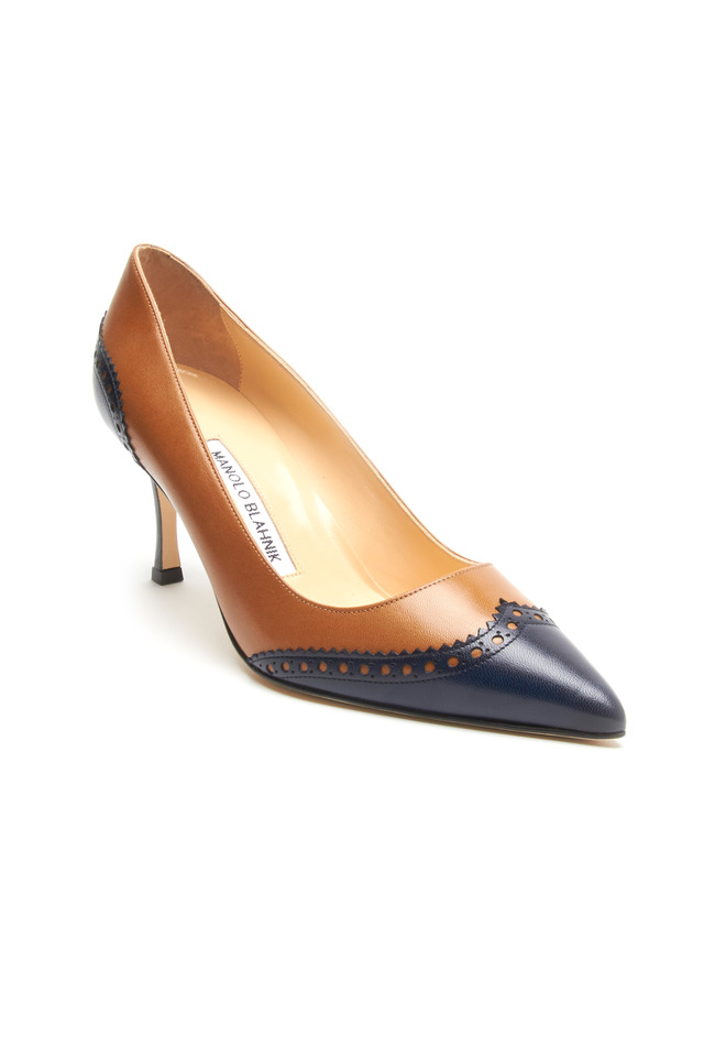 Ancor Spectator Blue & Camel Leather Pumps