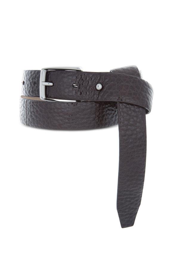 Brunello Cucinelli Ematite Dark Brown Pebbled Leather Belt
