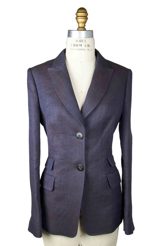 Hazel Navy Blue Herringbone Jacket