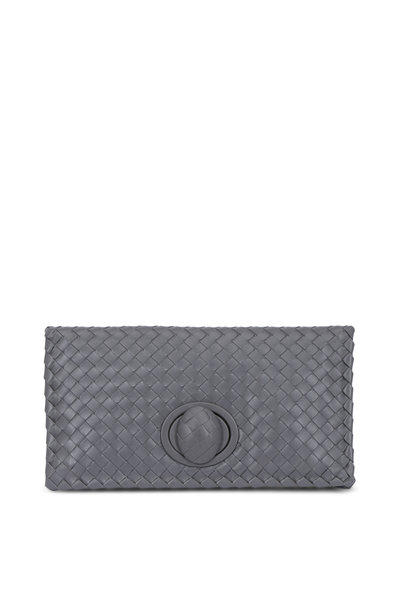 Bottega Veneta - Gray Intrecciato Fold Over Clutch