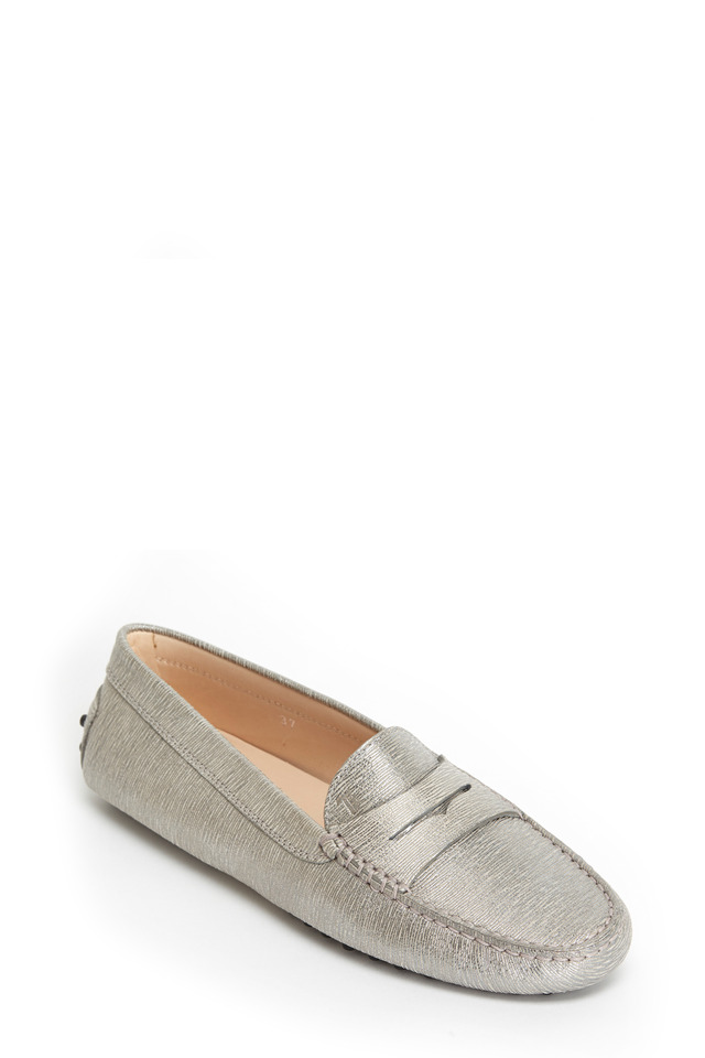 Gommino Silver Leather Driving Shoe