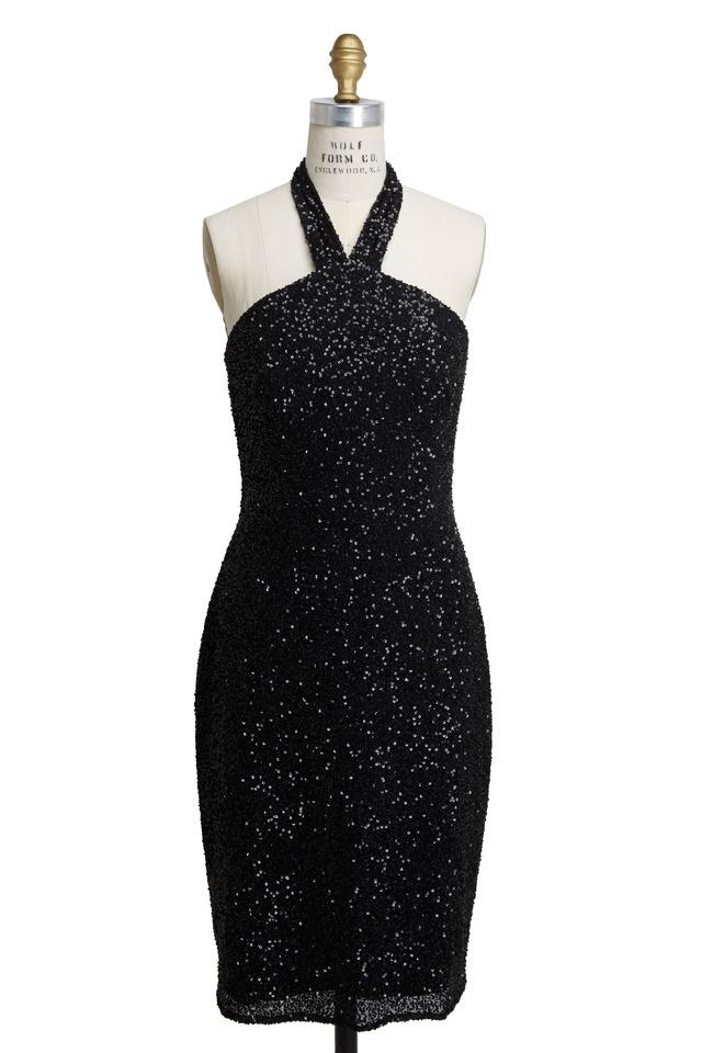 Black Sequin Backless Halter Dress
