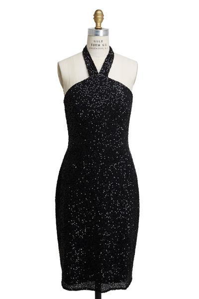 Pamella Roland - Black Sequin Backless Halter Dress