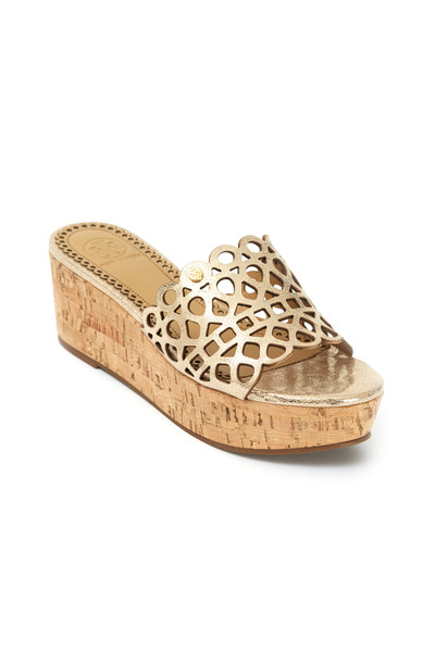 Tory Burch - Dunn Platinum Cutout Cork Slide Wedges