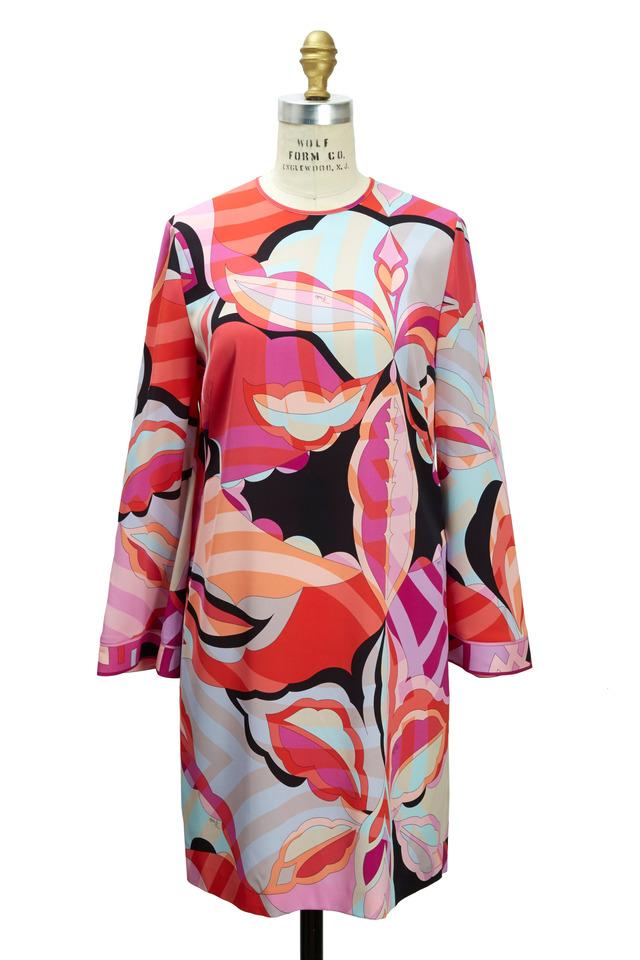 Pink & Red Silk Tulip Dress