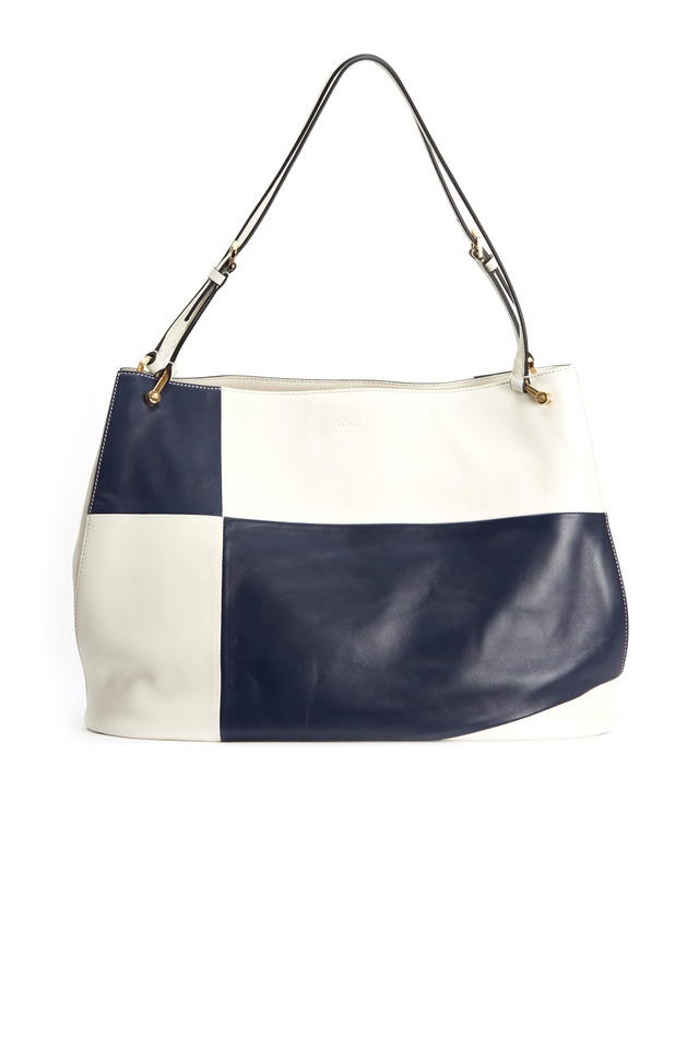 Navy Blue & White Leather East West Open Shopper