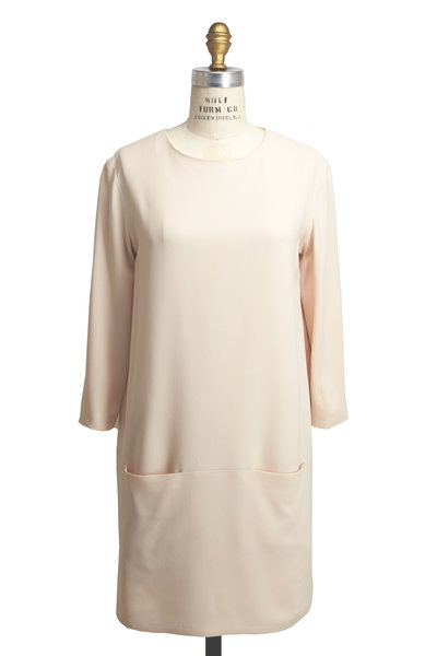The Row - Marina Cream Three-Quarter Sleeve Dress