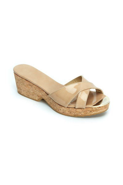 Jimmy Choo - Panna Nude Patent Leather Slide, 50mm