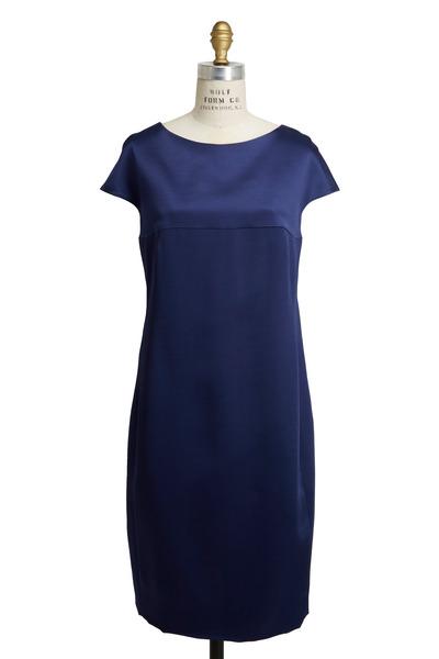 Akris - Denim Blue Satin Dress