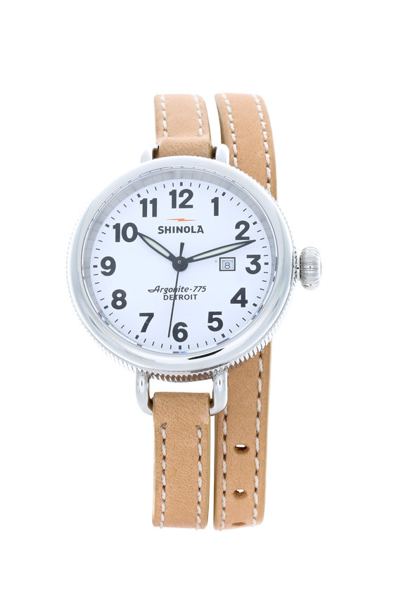 Shinola Birdy Natural Leather Double Wrap Lady Watch, 34mm