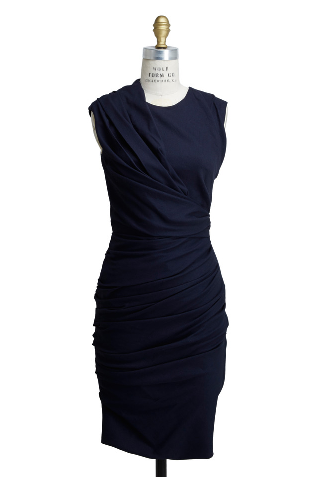 Navy Blue Linen Stretch Dress