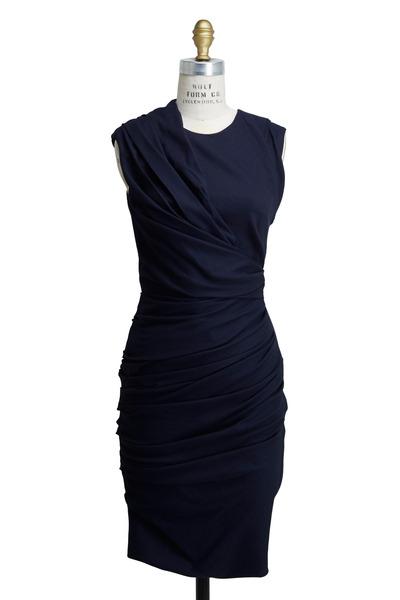 Lanvin - Navy Blue Linen Stretch Dress