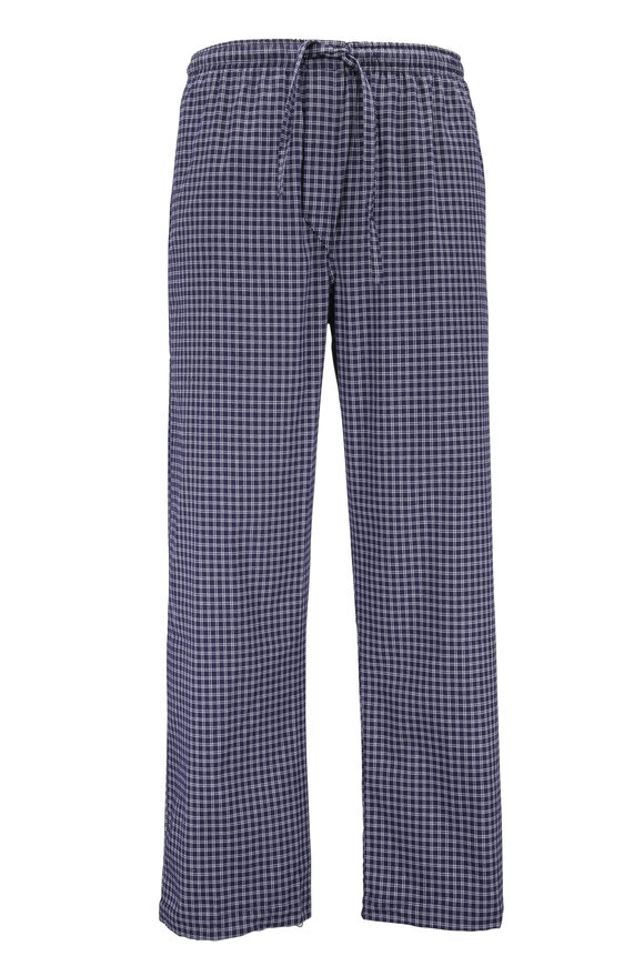 Derek Rose Navy Blue & White Plaid Flannel Pant