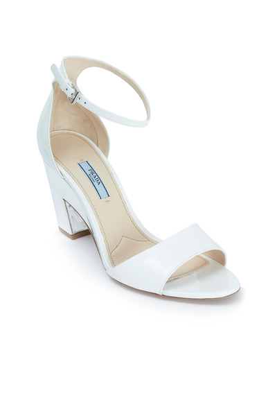 Prada - White Patent Leather Cut Wedge Sandals