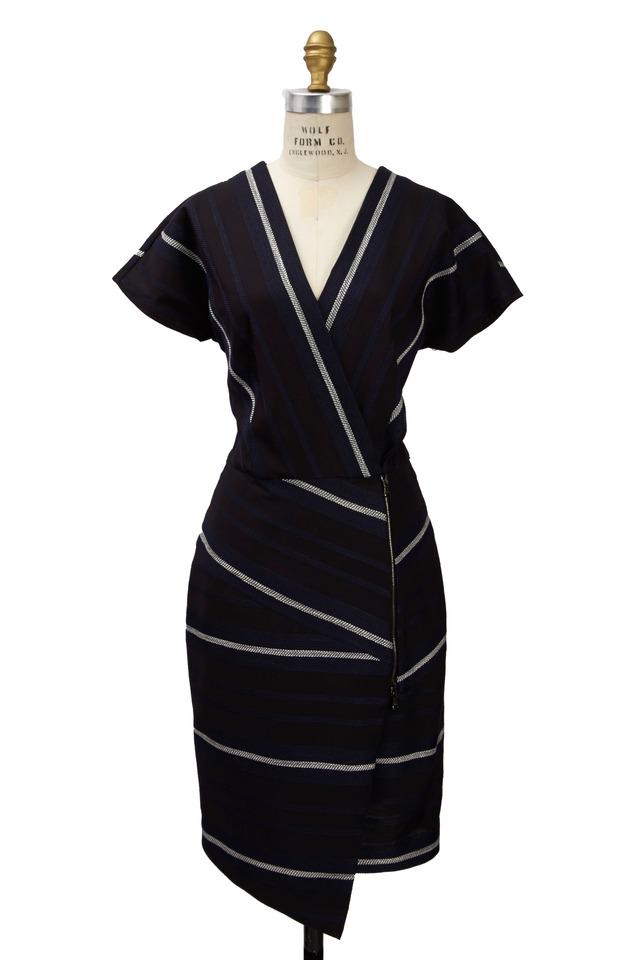 Black & White Polyester Dress