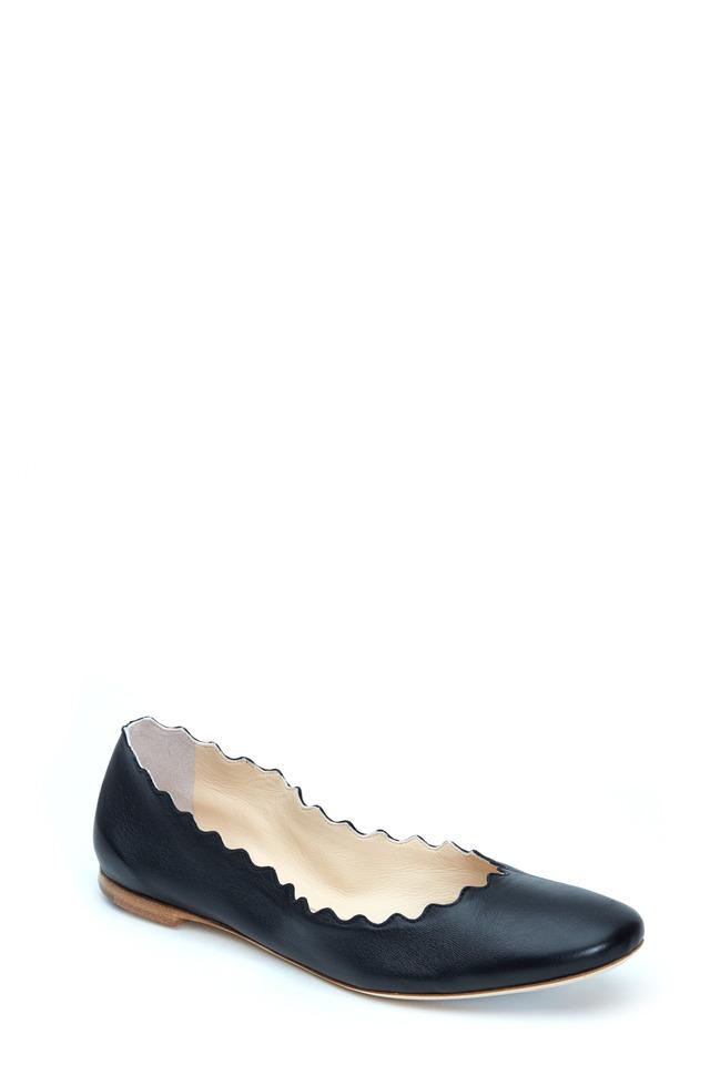 Lauren Black Leather Scalloped Ballet Flat
