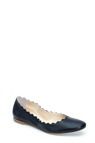 Chloé - Lauren Black Leather Scalloped Ballet Flat