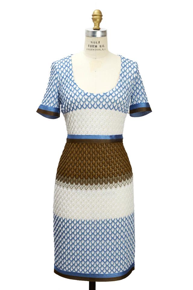 Blue Cream & Brown Dress