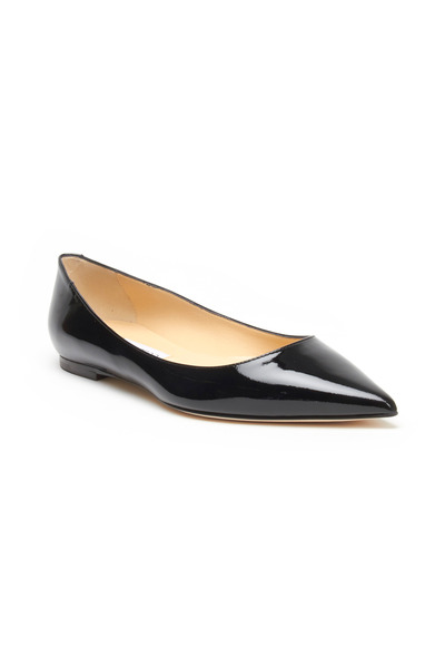 Jimmy Choo - Alina Black Patent Leather Pointed Flats