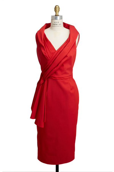Pamella Roland - Red Faille Stretch Dress