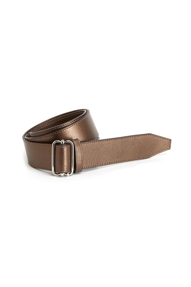 Dark Brown Metallic Leather Belt