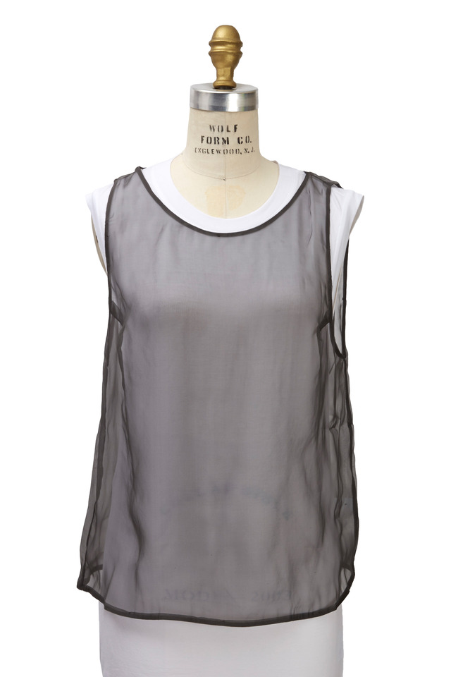 White & Charcoal Cotton & Voile Tank Top
