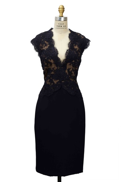 Reem Acra - Navy Blue Lace Dress