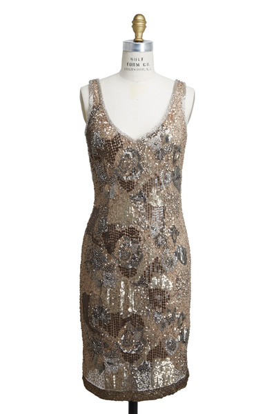 Theia - Multicolored Latte Beaded V-Neck Dress