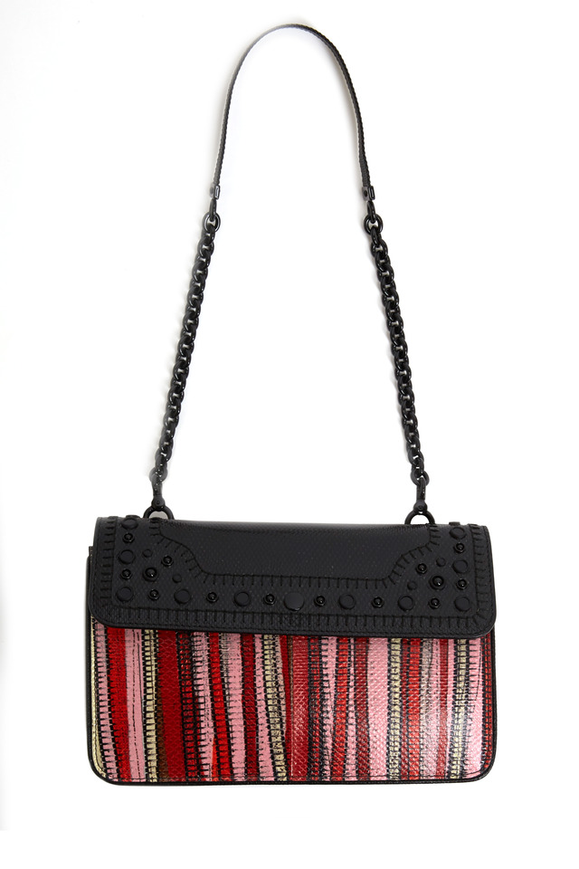 Red Multicolor Karung Striped Handbag