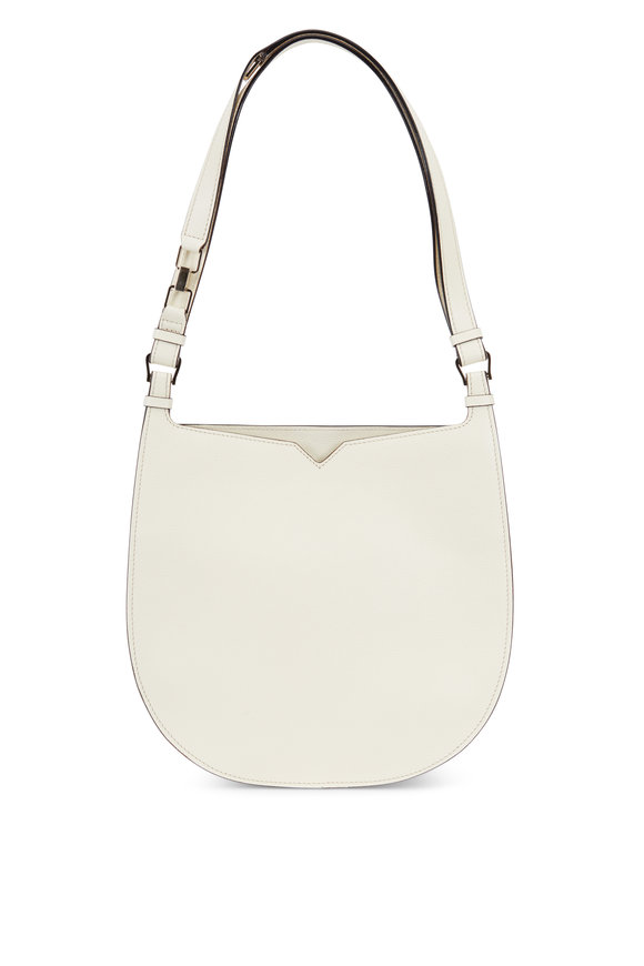 Valextra Weekend White Leather Convertible Hobo Bag