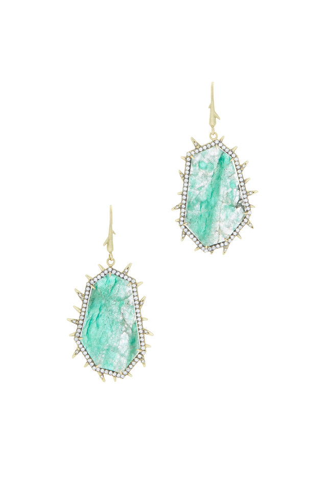 18K Yellow Gold Emerald Slice Earrings