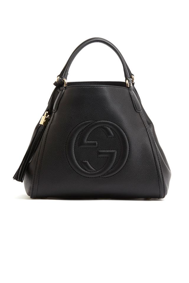 Black Leather Shoulder Bag, Small